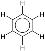 Benzene structure with a circle inside the hexagon
