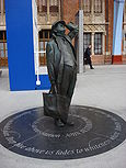 Sir John Betjeman Statue in St Pancras railway station, London, UK