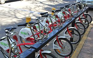 Bike rental - Image: Bicycles available for rental in Mexico City March 2010
