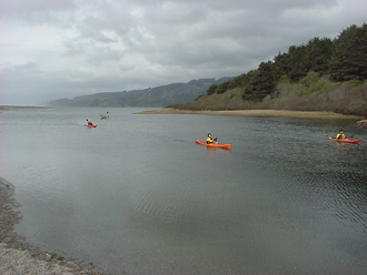 Big Lagoon (California) - Kayaks at the south end of Big Lagoon