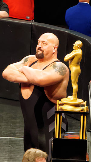 André the Giant Memorial Trophy - Big Show was the winner of the 2015 André the Giant Memorial Battle Royal at WrestleMania 31; The Big Show is seen here posing alongside the André the Giant Memorial Trophy, which goes to the winner of the annual match