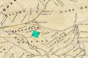 Binbrook, Ontario - Binbrook Township on an 1818 map, highlighted in green