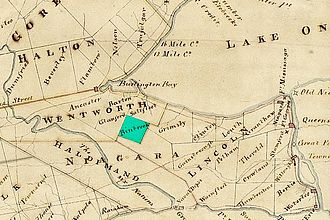 Binbrook, Ontario - Binbrook Township on an 1818 map, highlighted in green