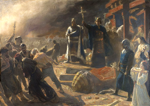 Principality of Rügen - Bishop Absalon topples the god Svantevit at Arkona, by Laurits Tuxen