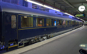 Rail transport in Sweden - Dining car at the luxury blue train from Uppsala to Gothenburg at Stockholm Central Station