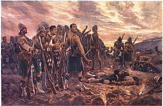 Khaki drill - The Black Watch in the Battle of Magersfontein, 1899, showing an early version of the khaki drill jacket, combined with kilts