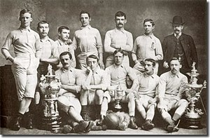 1884 FA Cup Final - The 1883–84 Blackburn Rovers team, with the East Lancashire Charity Cup; the FA Cup and the Lancashire Cup