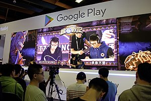 Blitzchung, a Pro-Democracy player representing Hong Kong, in a tournament against another player, at the Google Play Booth B211, World Trade Center One.