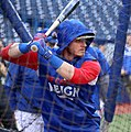 Blue Jays third baseman Josh Donaldson takes batting practice before the AL Wild Card Game. (29507210453).jpg