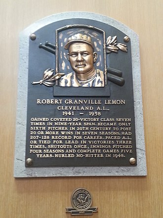 Bob Lemon - Plaque of Bob Lemon at the Baseball Hall of Fame