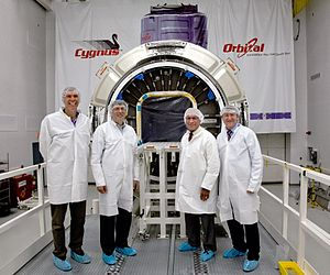 Cygnus (spacecraft) - NASA Administrator Charles Bolden (third from left) in front of the Cygnus spacecraft in May 2012