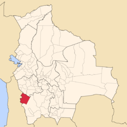 Location of the Daniel Campos Province within Bolivia