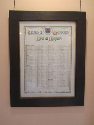 Mayor of Monmouth - Borough of Monmouth, list of mayors, on display at the Shire Hall, Monmouth
