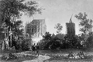 Henry Winkles - Botanic Garden and cathedral, Cologne, 1820 - engraved by Henry Winkles