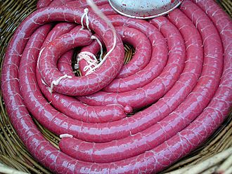 Blood sausage - Black pudding (boudin noir), before cooking