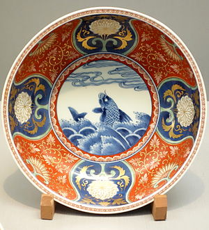 Imari ware - Imari ware bowl, stormy seascape design in overglaze enamel, Edo period, 17th-18th century