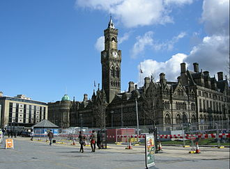Bradford City Hall - View of City Hall from Centenary Square