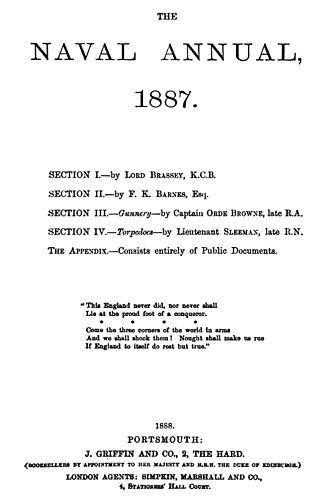 The Naval Annual - Title page of 1887 edition, published 1888