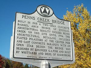Bridge between Monroe and Penn Townships - Image: Bridge between Monroe and Penn Townships marker Oct 09