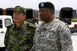 Guan Youfei - U.S. Army Brig. Gen. Charles W. Hopper (right), a Defense attache, observes relief operations with Rear Admiral Guan Youfei, deputy director for the Chinese Defense Ministry's foreign affairs office in 2008.