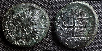 O: head of river-god Strymon R: trident This coin imitates Macedonian issue from 187 to 168 BC. It was struck by Serdi tribe as their own currency Bronze coin of Serdi Celts.jpg