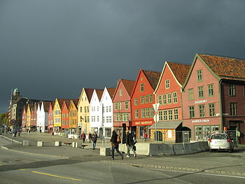 Bryggen, Bergen. (The German Wharf, Bergen.) A...