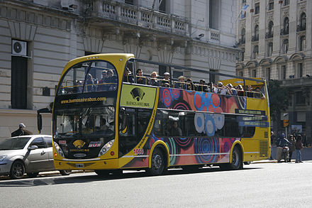 Buenos Aires Bus, the city's touristic bus service. The official estimate is that the bus carries between 700 and 800 passengers per day, and has carried half a million passengers since its opening. Buenos Aires Tour Bus.jpg
