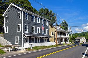 National Register of Historic Places listings in Columbia County, New York - Image: Buildings on NY 82 in Ancram Hamlet Historic District