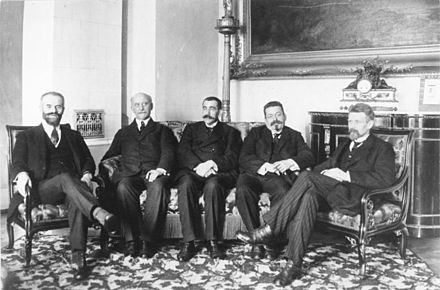 People's Deputies Otto Landsberg, Philipp Scheidemann, Gustav Noske, Friedrich Ebert and Rudolf Wissell after the USPD had left the Council at the end of 1918 Bundesarchiv Bild 146-1977-074-08, Volksbeauftragte Landsberg, Scheidemann, Noske, Ebert, Wissell.jpg