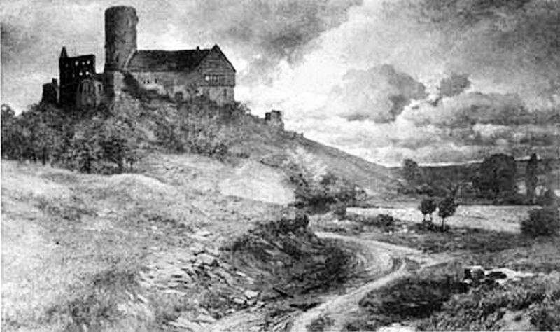 Файл: Burg Gleiberg им Jahre 1892 нач Эйнем Ölgemälde фон Ф. В. Wille.jpg