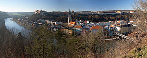 Burghausen Castle - City and castle of Burghausen seen from the Austrian side of the River Salzach