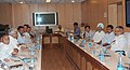 C.P. Joshi presiding over a meeting on 'Re-structuring of National Highways Authority of India (NHAI)', in New Delhi. The Minister of State for Road Transport and Highways, Shri Tusharbhai Chaudhary is also seen.jpg
