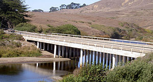 Salmon Creek (Sonoma County, California) - State Route 1 bridge at milepost 12.49