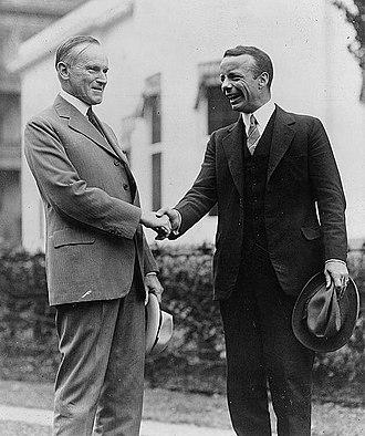 Theodore Roosevelt Jr. - Roosevelt shaking hands with President Calvin Coolidge, September 26, 1924