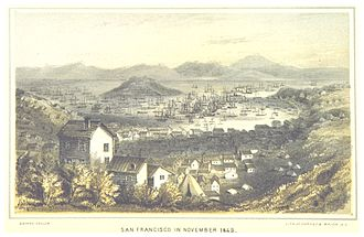 Bayard Taylor - Illustration of San Francisco in November 1849, from publication El Dorado.