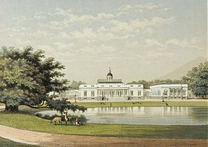 Bogor Palace - Lithograph of the palace in 1889.
