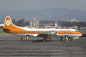 Copa Airlines - A Copa Airlines Lockheed L-188 Electra at La Aurora International Airport in 1980.