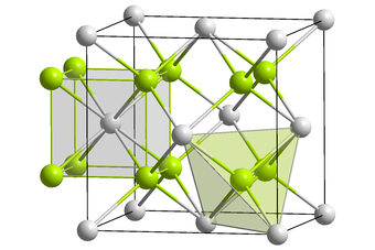Thorium dioxide has the fluorite crystal structure. Th : __  /  O : __ CaF2 polyhedra.png