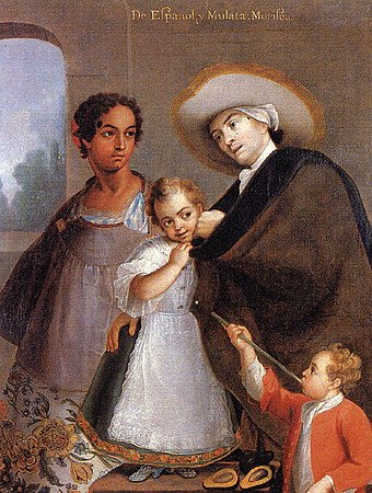 A Spaniard plays with his mixed-race daughter while his Mulatta wife looks on, Miguel Cabrera, 1763, Colonial Mexico. Cabrera Pintura de Castas.jpg