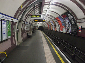 Caledonian Road tube station - The platform at Caledonian Road showing its distinctive tilework and colours