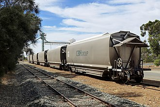 Wheatbelt railway lines of Western Australia - Narrow gauge CBH grain wagons at Calingiri, 2014