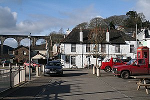 Calstock - The railway viaduct and the Tamar Inn