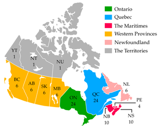 Canadian Senate divisions - Map of the regional Senate divisions