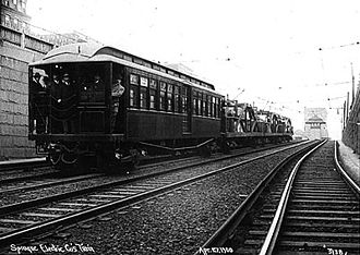 Charlestown Elevated - A test train on the Canal Street Incline in April 1900