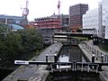Canal lock and construction site, Camden NW1.jpg