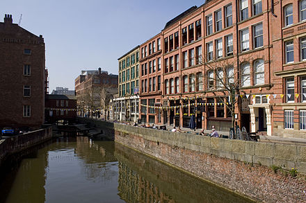 Canal Street, one of Manchester's liveliest nightspots, part of the city's gay village Canal street manchester.jpg