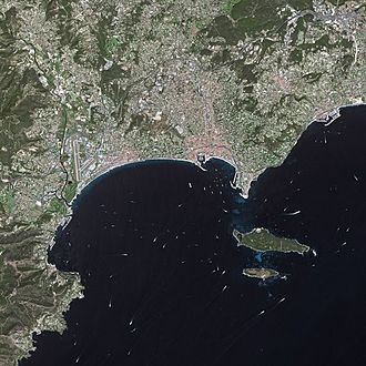 Cannes - Cannes seen from Spot Satellite
