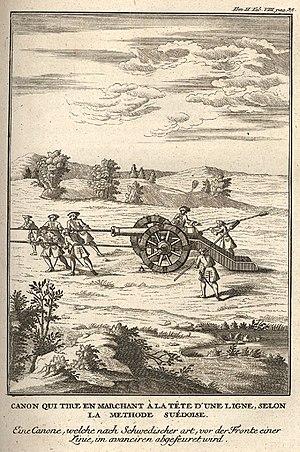 Jean Charles, Chevalier Folard - Canon qui tire en marchant à la tête d'une ligne, selon la methode suédoise, illustration to Folard's Histoire de Polybe