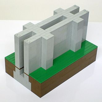 Canton Viaduct - Lego model of wall section with deck removed