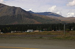 Town of Cantwell, Alaska. Tracks for the Alaska Railroad run through the foreground.